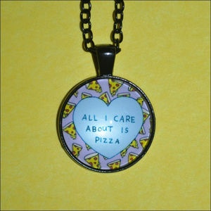 Jewelry - All I Care About Is Pizza Dome Necklace